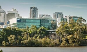 Image of the QUT Campus viewed from across the river