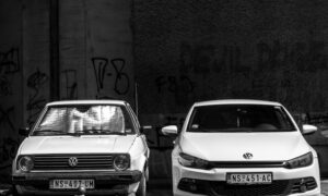 Two Volkswagen vehicles side by side, one old, one new
